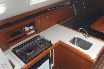 Hunter 33 interior kitchen view.