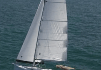 Hunter 38 Under sail birds eye view.