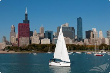 Hunter 39 Under Sail with the sailtime water mark in the bottom right hand corner and chicago in the background.