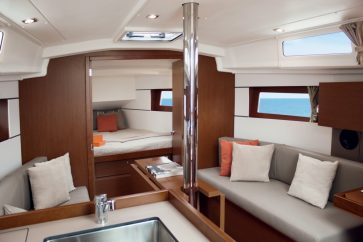 Beneteau 35.1 Interior view of living space and bow Master bedroom entrance.