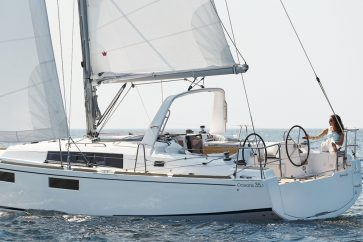 Beneteau 35.1 Under sail by a single individual using both the main and jib.