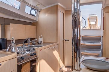 Beneteau 38.1 Interior Cabin view facing the stern.