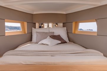 Beneteau 38.1 Interior view of the bow master bedroom.