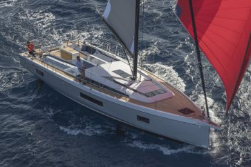 Beneteau 51.1 Under sail in open waters.