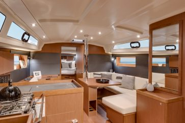 Beneteau 41.1 Interior living space.