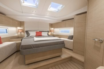 Beneteau 51.1 Interior Bow master bedroom.