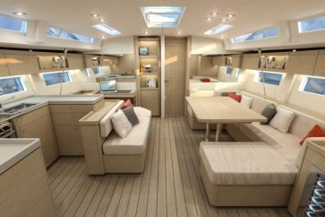 Beneteau 51.1 Interior living space facing the bow.