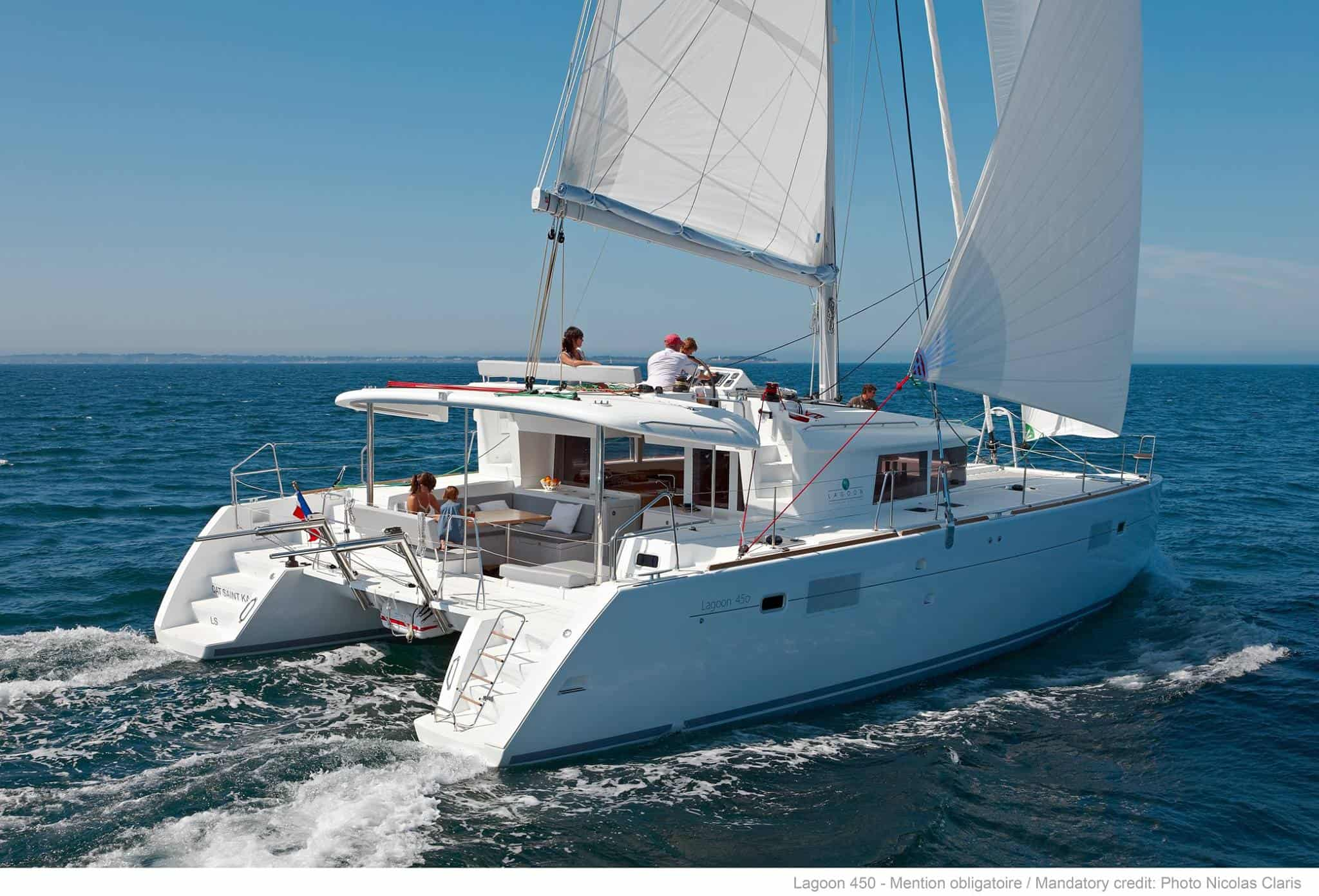 Houston Sailtime Lagoon 450 Catamaran at sea